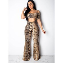 2019 Summer Women Snake Skin Print Set Spaghetti Straps Wide Leg Pants Two Pieces Set Short Sexy Crop Tops Long Pant Set women s stylish spaghetti straps tribal print bikini set