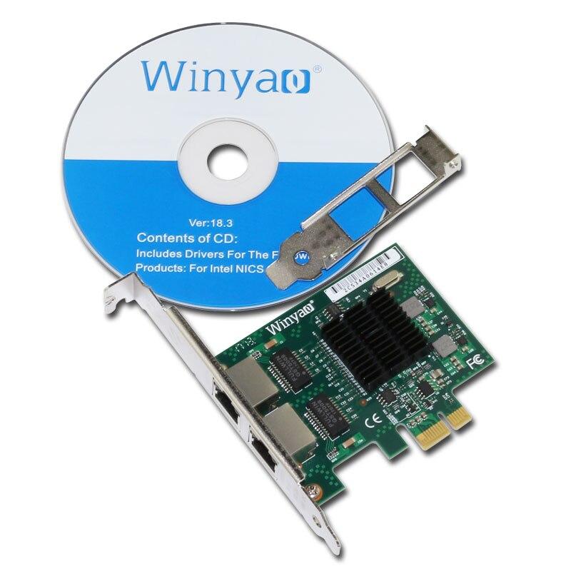 Winyao E575T2 Dual-port PCI-E X1 Gigabit Ethernet Network Card 10/100/1000Mbps LAN Adapter Controller Wired 82575 E1G42ET