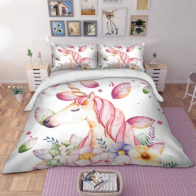 Unicorn Flower Bedding White Duvet Cover Bed Set Kids Girl Bedlinen