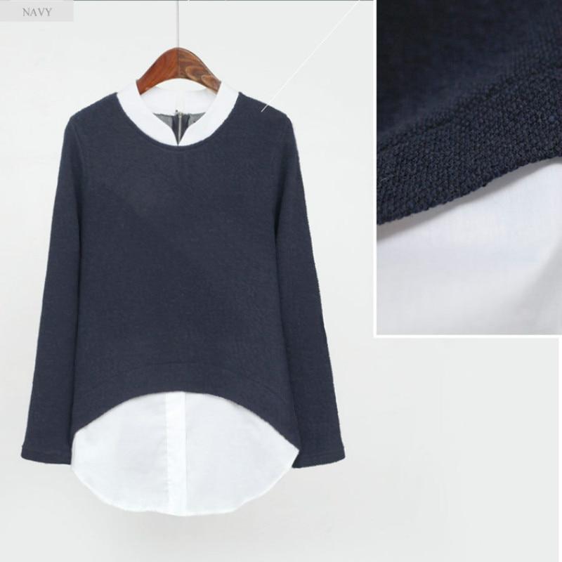 Larga Falsa E0249 Marino azul 2017 Invierno Manga Casual E Otoño Gris Dos Camisa Mujeres De Blanco Blusas Kimono Patchwork Tops Mujer Piezas qRPF7