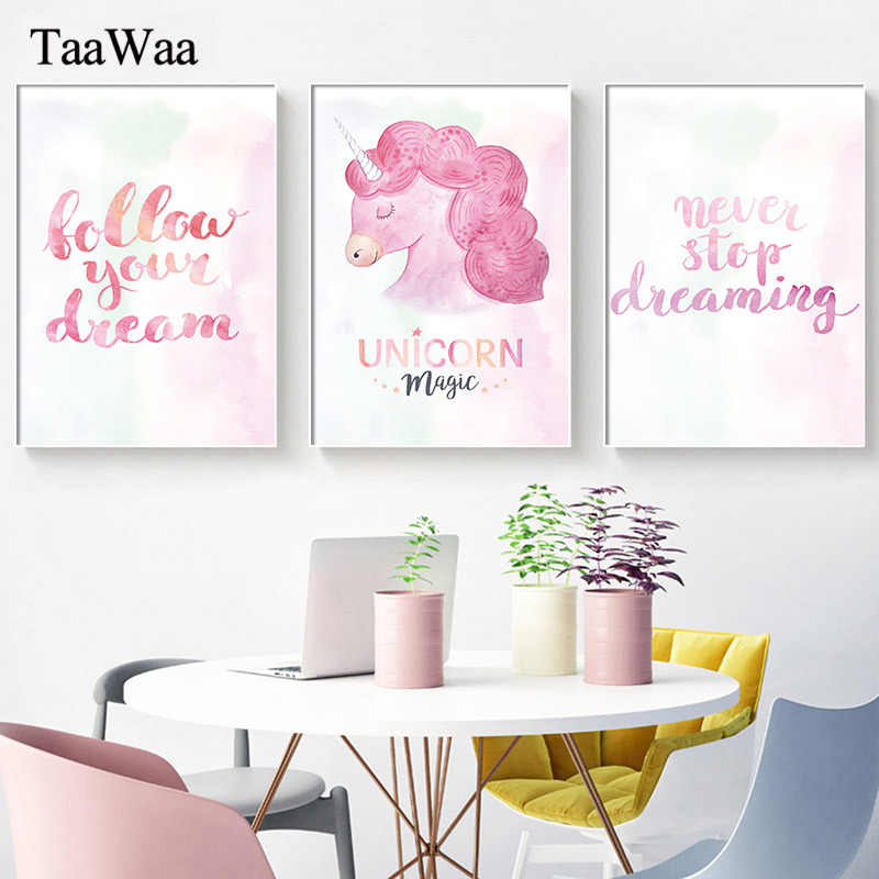 Pink Unicorn Motivational Quotes Canvas Wall Art Nursery Poster and Print Painting Picture for Kids Room Decoration Home Decor