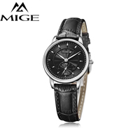MIGE Lovers Students Watches Quartz Wristwatches Synthetic Sapphire Crystal 30m Waterproof Genuine Leather Watchband Relogio