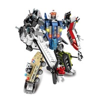 Assemble 6in1 Steel mech transformation tank helicopter fighter model building blocks Compatible Legoed educational toys