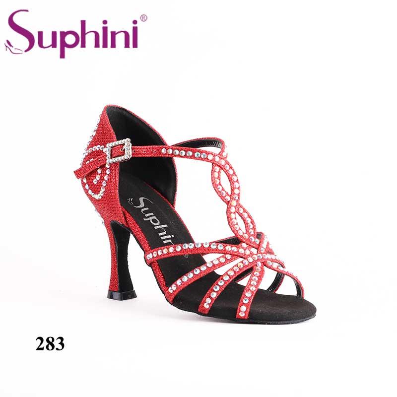 2018 nouvelles chaussures de danse latine rouge paillettes chaussures de danse talon professionnel Suphini Salsa chaussures de danse livraison gratuite