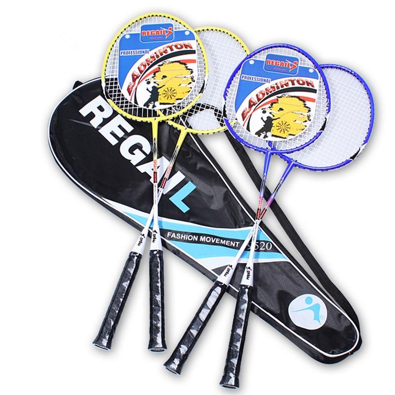 1Pair Aluminium Alloy Fiber Filament Ultra-light Amateur High Toughness Training Badminton Racket With Carry Bag Sport Equipment