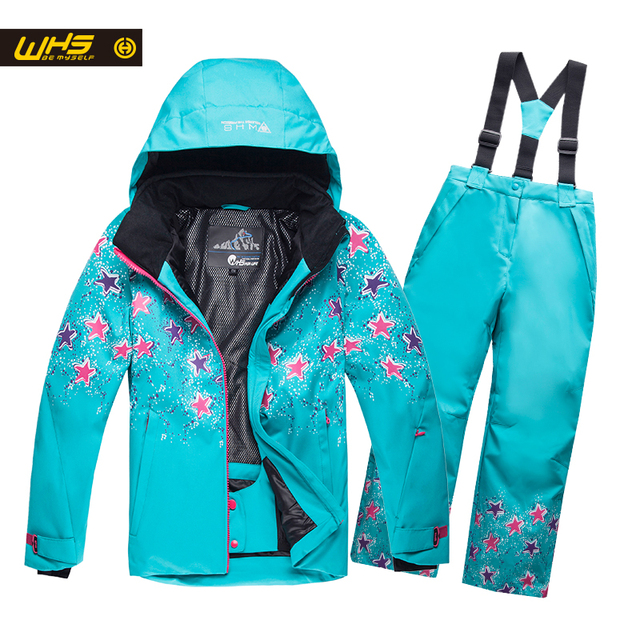 WHS Новые девушки лыжный костюм подросток лыжи куртка и тяжелое дыхание Детей водонепроницаемый снег пальто ветрозащитный брюки 4-16лет