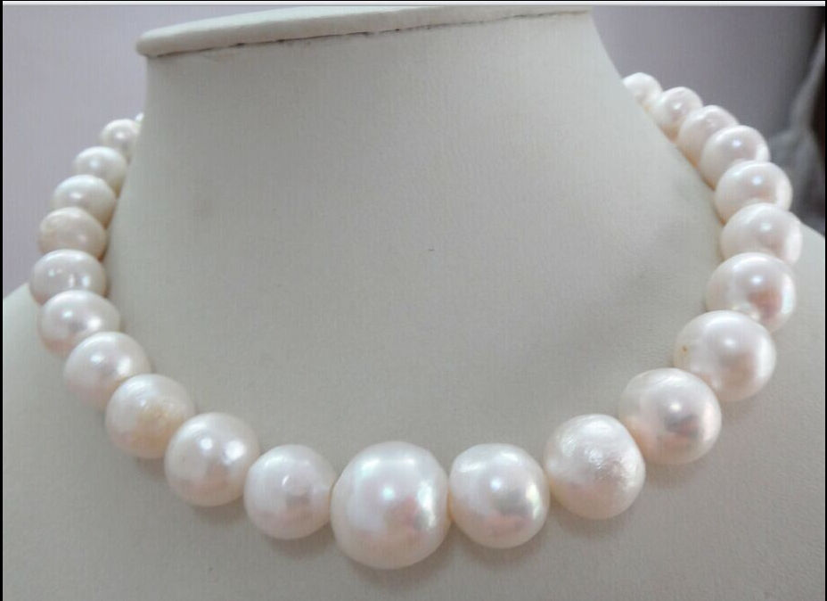 FREE SHIPPING HUGE 13-15MM  SEA GENUINE WHITE PEARL NECKLACE   Clasp a()