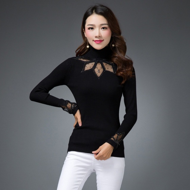 2017 Autumn Winter Women Pullover Sweater Knitted Turtleneck Long Sleeve Sexy Slim See throuth Sueter Mujer