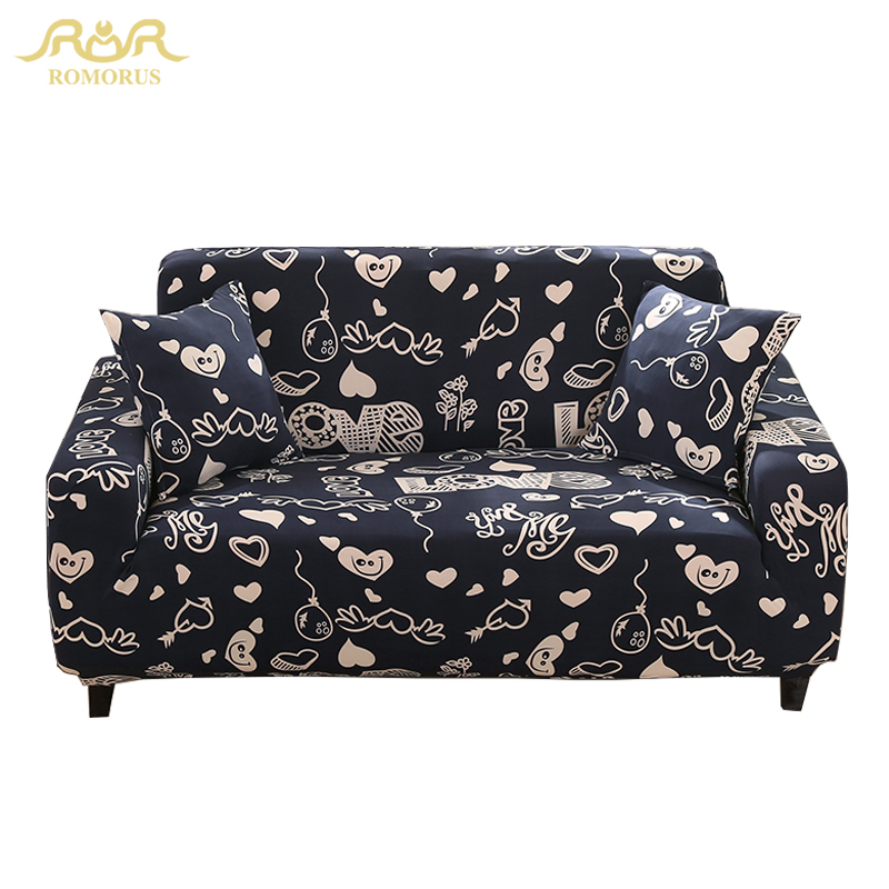 Navy Blue Printed Elastic All-inclusive Couch Covers Stretch Fabric Sofa Covers Single/Two/Three/Four-seat Slipcover Chair Towel