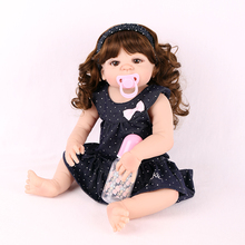 22'' 55cm Babies Reborn Girl Silicone doll Exquisite Long curly hair Real Reborn Baby Dolls Stuffed vinyl Doll Toys Fashion gift