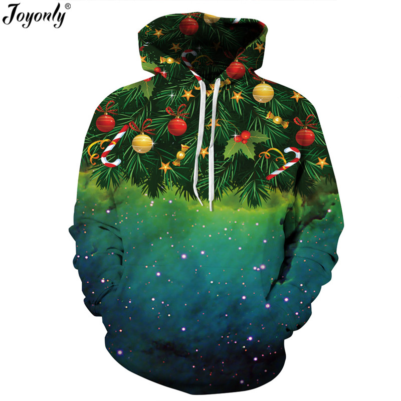 Joyonly 2018 Christmas Hooded Sweatshirts Funny Hoodies Christmas Tree Gift Star Galaxy Printing Hoodie Women Men Pullover Tops