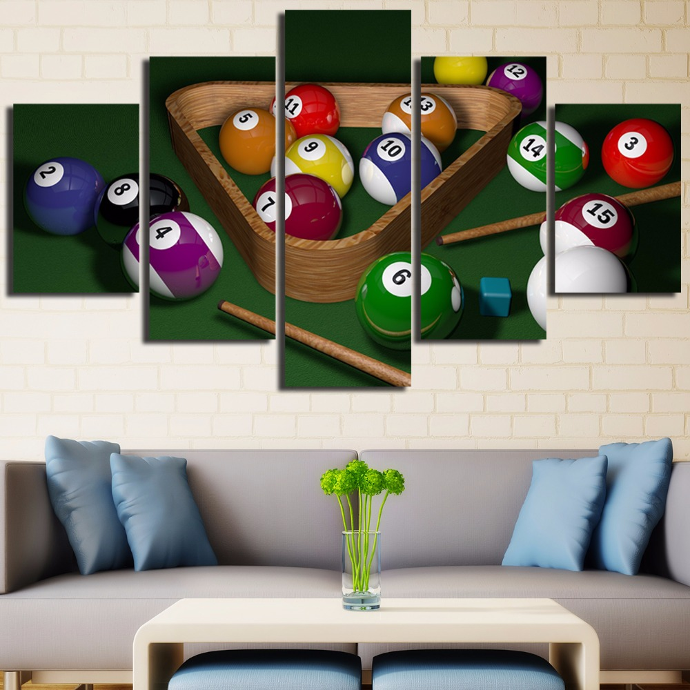 Aliexpress.com : Buy Unframed Interesting Snooker Game 5 Piece Modern Wall  Painting Art Picture Paint On Canvas Home Decor For Living Room From  Reliable ...