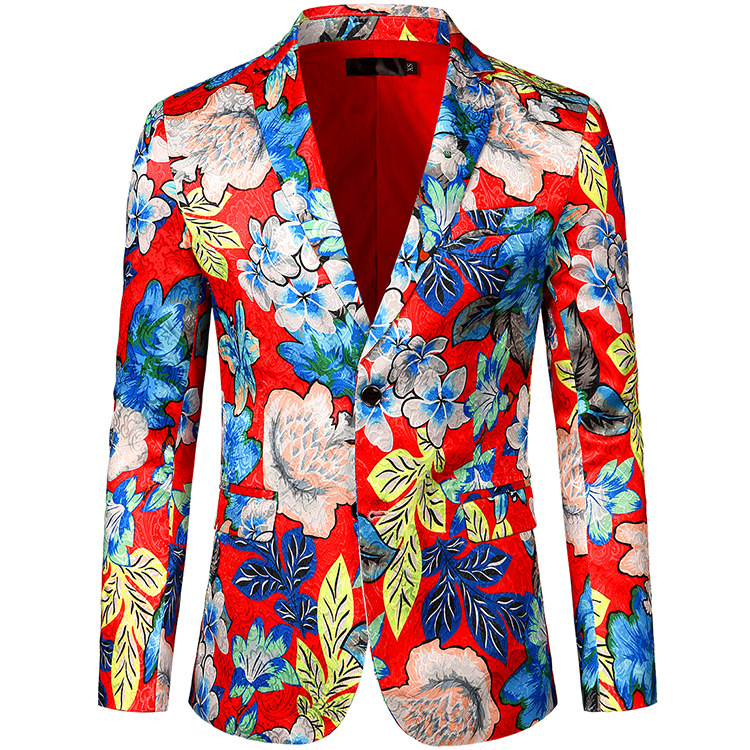 Vogue Of New Fund Of 2020 Big Flowers Suit Suit Single Double Buckle Design Performance Of Cultivate One's Morality