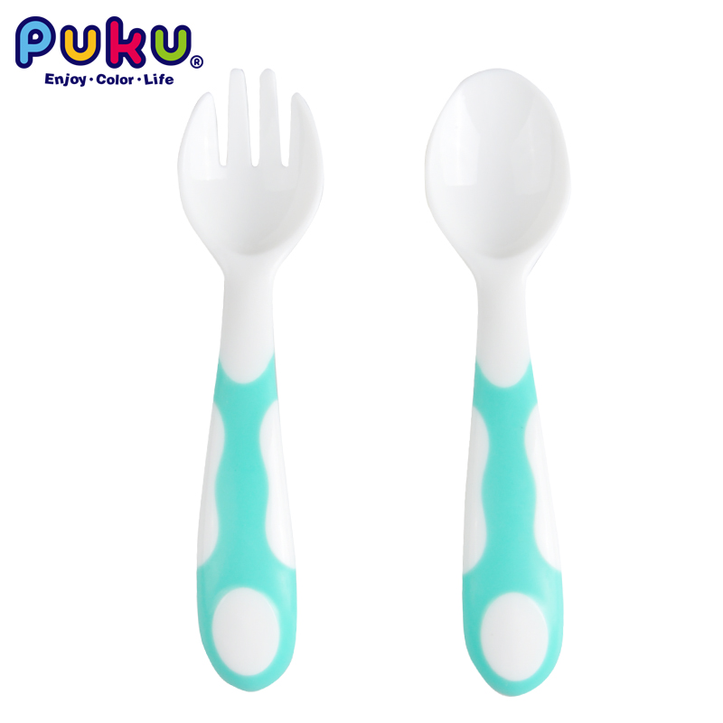 Puku Spoon& Fork Set PP Baby Feeding 2PCS Children Utensils Rounded Deign With Soft Tips For Safe Self Feeding Non-Slip Handles