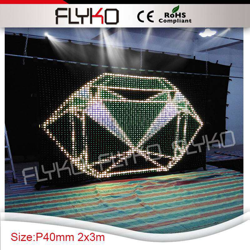 normal hot size 6.56ft * 10ft pixel pitch 40mm flexible indoor backdrop changeable color lights stage curtain