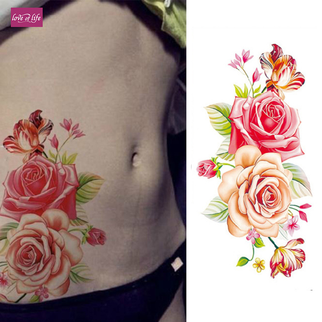 1 Piece3d Temporary Tattoos Arm Red Rose Flower Tattoo Waterproof Female Body Art Tattoo In Temporary Tattoos From Beauty Health On Aliexpresscom