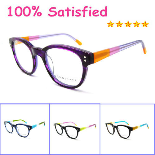 New model 2016 women round retro solid black acetate optical frame glasses vintage purple eyeglasses frames b140270