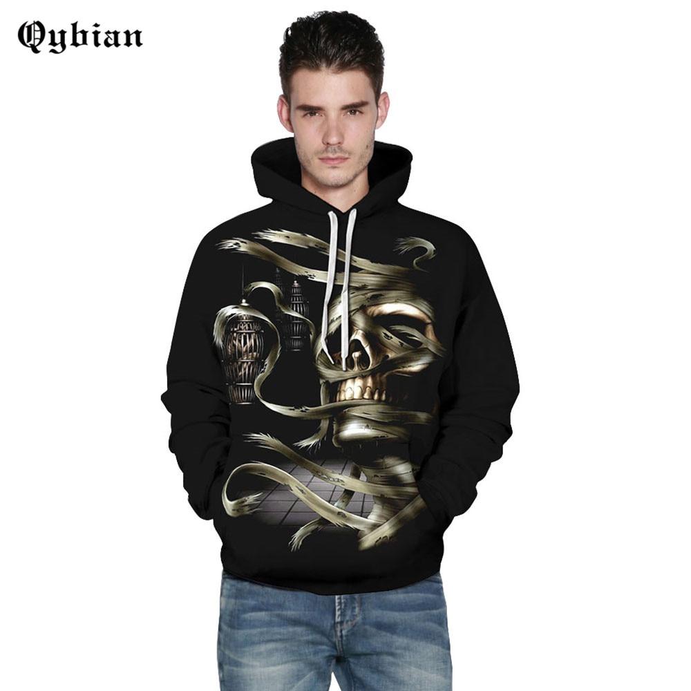 Qybian Halloween theme Men's Hoodies Sweatshirt Funny 3D Skeleton Mummy Digital Fashion Printed Hoodie Men Women Pullovers Drop