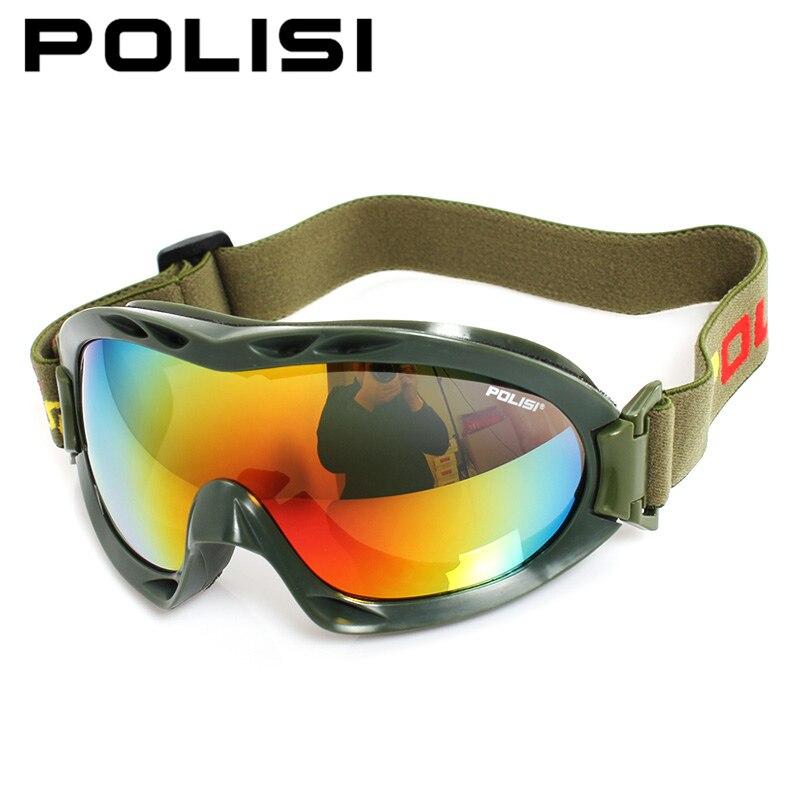 POLISI зима Армейский зеленый Лыжный Спорт Снег очки Для мужчин Для женщин Мотоцикл Сноуборд Лыжный Очки Анти-Туман UV400 мотокросс очки