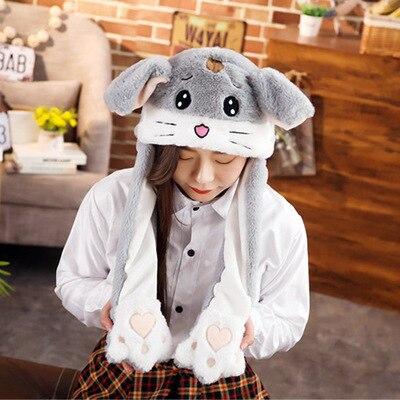 Новинка, Мультяшные шапки с подвижными ушками, милый Игрушечный Кролик, шапка с подушкой безопасности, Kawaii, забавная шапка для девочек, детская плюшевая игрушка, рождественский подарок - Цвет: Grey hamster1