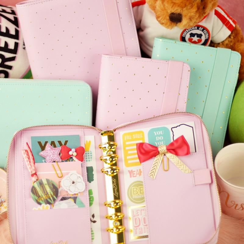 Dokibook Lovedoki New Notebook Mint Lilac A5 A6 Planner Zipper Organizer Books Diary Agenda Kawaii Stationery