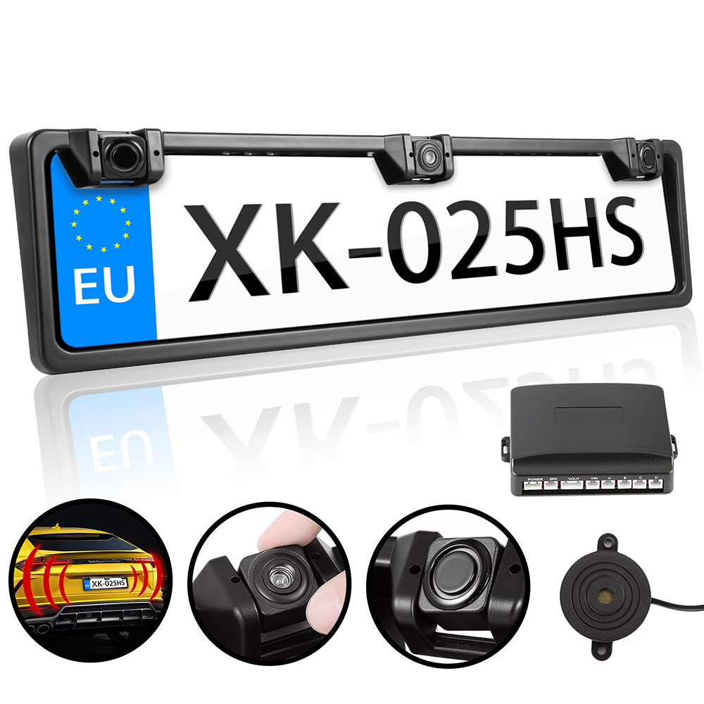 Auto Rearview System European License Plate Video Parking Sensor Reversing Radar with HD Rear View Backup Camera No Drill Holes