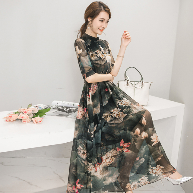 50714f85a € 19.05 18% de DESCUENTO|El nuevo estilo de verano de 2016 ropa de ocio de  moda vestido de gasa de siete mangas con cuello delgado dulce para mujer ...