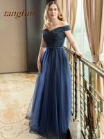 Luxury New Evening Dresses Long With Beading Pearls A Line Sexy Backless 2018 Evening Party Dress Tulle Prom Evening Gowns