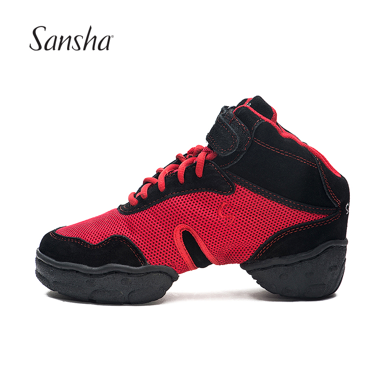 Sansha High Top Dance Sneakers Breathable Mesh Upper And Suede Details TPR Split sole Women Men