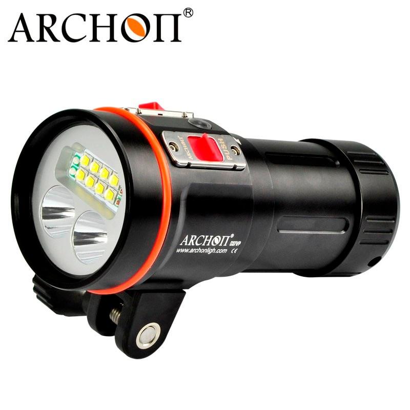 ARCHON D37VP Diving Flashlight 8*CREE XM-L2 +2*CREE XP-E+2*UV+2*CREE XM-L2 5200 LM 100M Underwater Torch Light +18650 Battery archon 34vr 2600lm 6 mode flashlight w 4 x cree xm l2 white 2 x xp e n3 red purple uv 1x32650