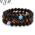 V.YA Elegant Beads Bracelets Men's Natural Stone Bracelet Women Skull Charm Bangle Fashion Jewelry