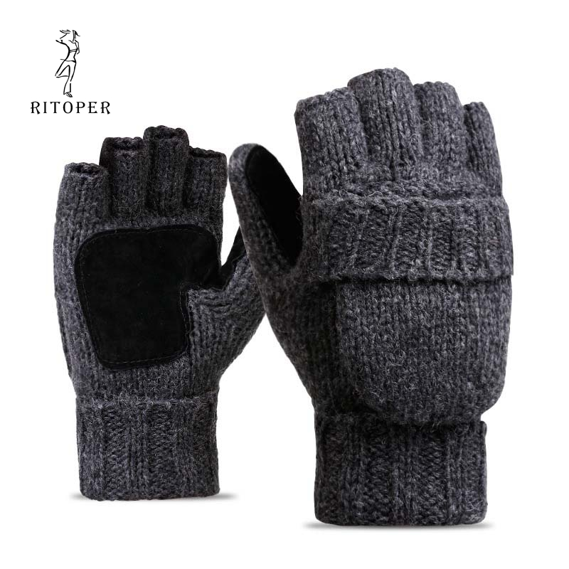 RITOPER Unisex Plus Thick Male Fingerless Gloves Men Wool Winter Warm Exposed Finger Mittens Knitted Warm Flip Half Finger Glove
