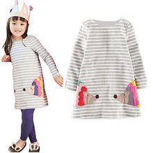Stylish Kids Children Girls Clothes Dresses Birthday Gifts Party Long Sleeved Shirt A-line Striped Cotton Dress 2 3 4 5 6 7 Year