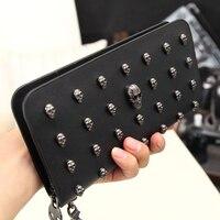 Men Women Fashion High Quality Skull Wallet Personality Clutch Bags Rivets PU Leather Purse Zipper Card