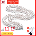 White Natural Freshwater Pearl Necklace For Women 8-9mm Necklace Beads Jewelry 40cm/45cm/50cm Length Necklace Fashion Jewelry