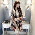 2016 Mulheres Designer de Xadrez Cachecol de Inverno Lã Longa Elegante Wraps, Cachecol Marca De Luxo Caxemira Xales Lenço de Pashmina Do Vintage Feminino