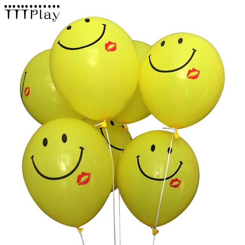100 pçs/lote 12 Polegada Cara Amarela do Smiley Bolas de Ar Balões De Látex Balões de Festa de Casamento Decoração De Festa De Aniversário Inflável Float