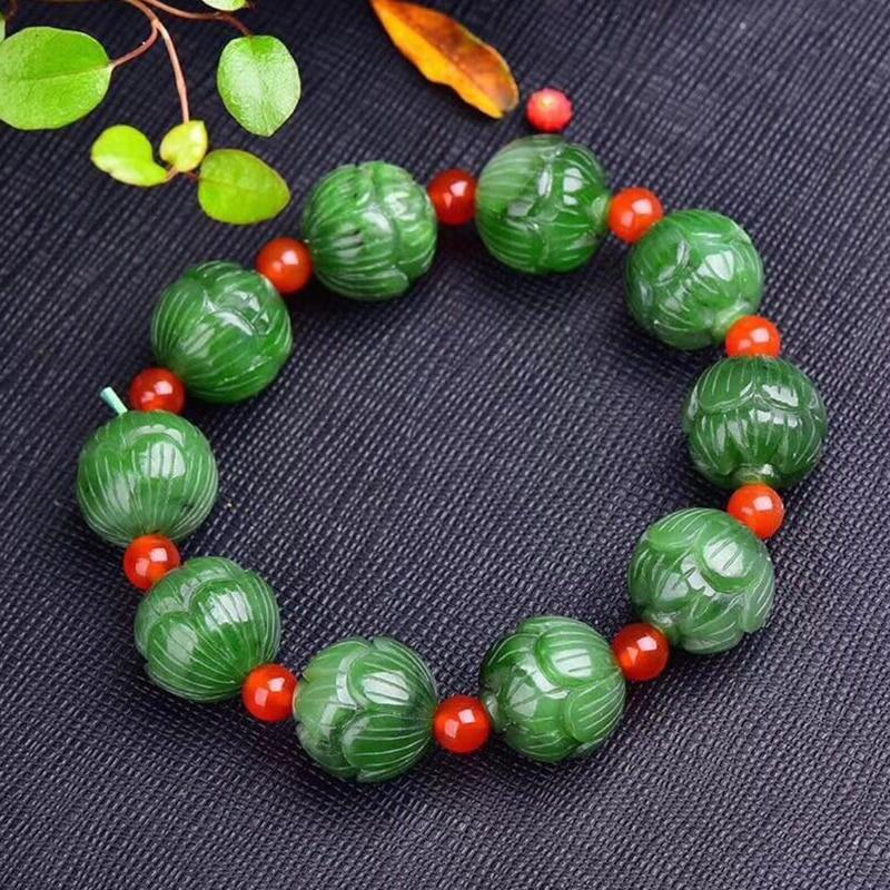 Fine Green Natural Stone Bracelets Caved lotus beads bracelets Beauty for Women Men Evil Spirits Good Oiliness Simple Jewelry mens bracelets 2018 evil eye ladies bracelets silver925