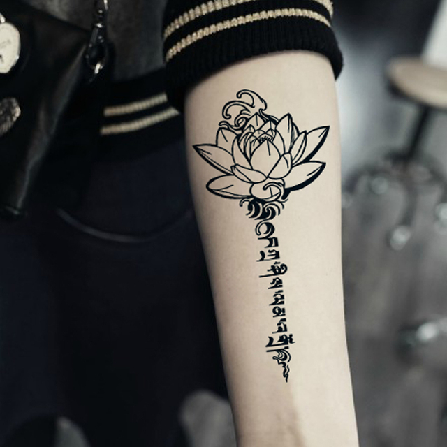 Impermeable Temporal Tatuaje Manga Adhesivos Buda Lotus Flores