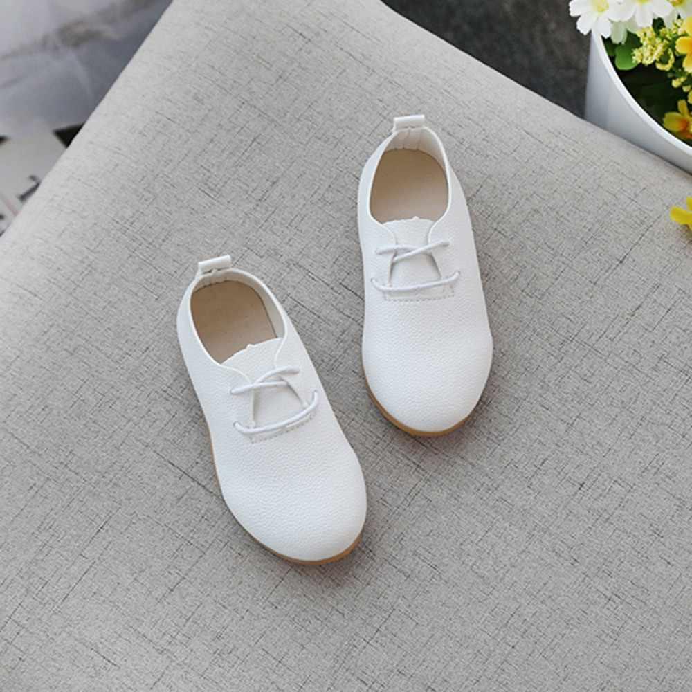 ילדי בנות מוצק לבן נעלי עור מקרית נסיך נעליים לפעוטות ילדים כל שעון נעלי סניקרס # TX4