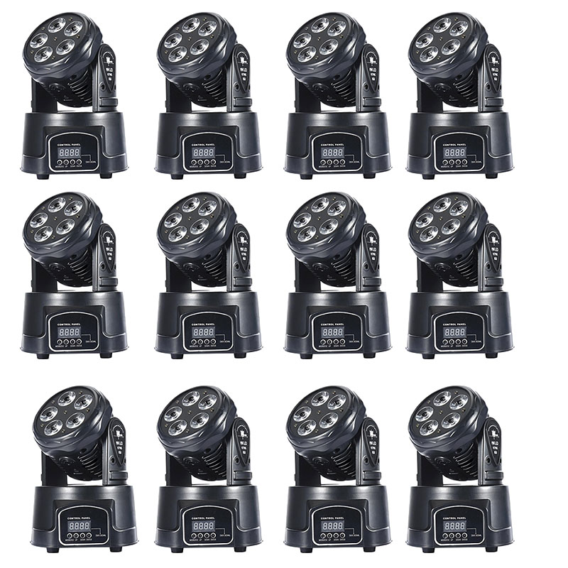 12pcs/lot High Power Led RGBAW Color Mixing UV 5x18W Leds Wash Adjustable Pan/tilt Speed Moving Head Light For Show Bar