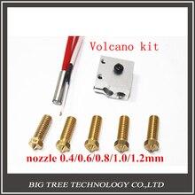 Piezas de la impresora 3D 3D Volcano hot end erupción paquete kit/set calentador de bloque + boquilla paquete para 1.75/3.0mm