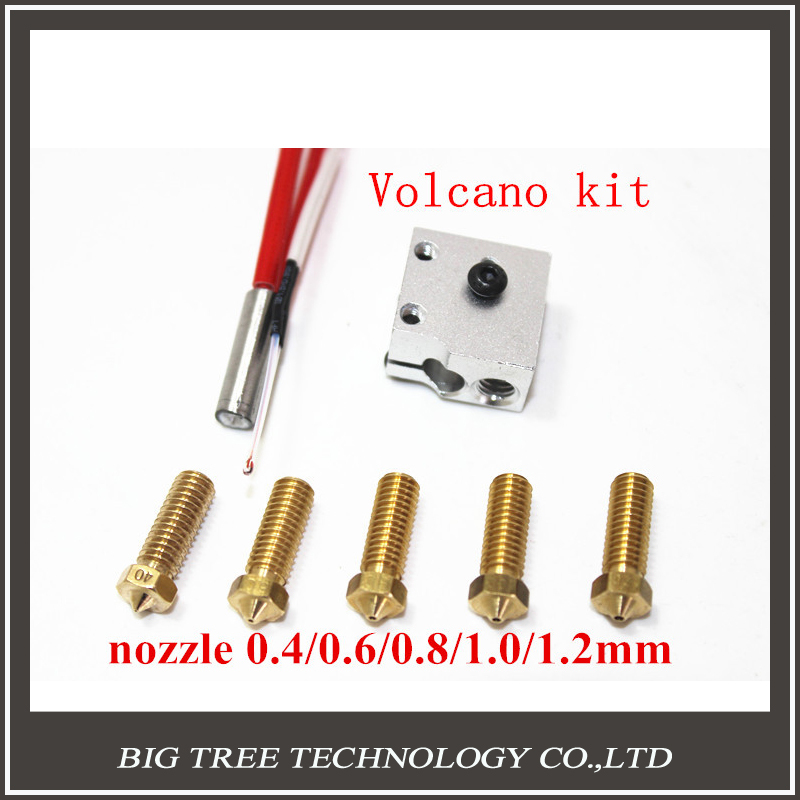 3D printer parts 3D Volcano hot end eruption pack kit/set heater block+nozzle pack for 1.75/3.0mm