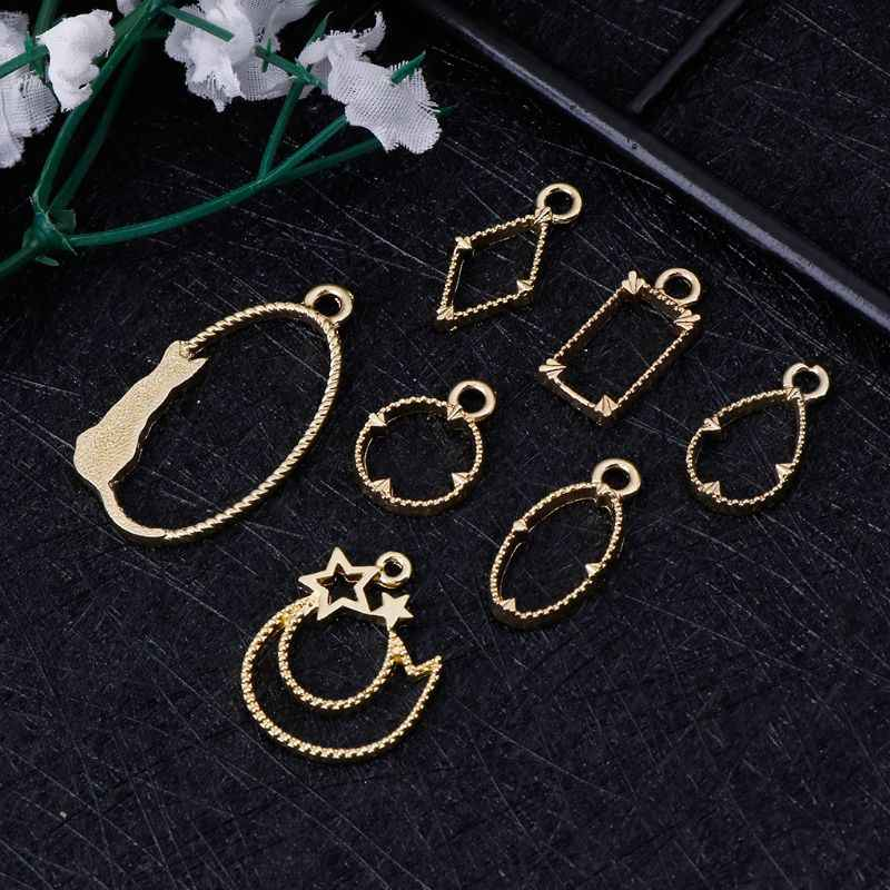 7 Pcs Metal Frame DIY Jewelry Making Epoxy Resin Tool Crafts Exquisite Gold Pendant Handmade Floral Cat Cartoon Square Geometric