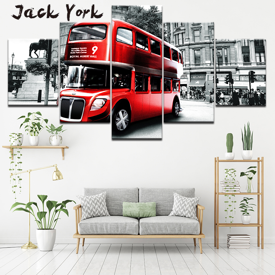 Canvas Painting Beautiful London Bus artwork 5 Pieces Wall Art Modular Wallpapers Poster Print living room Home Decor