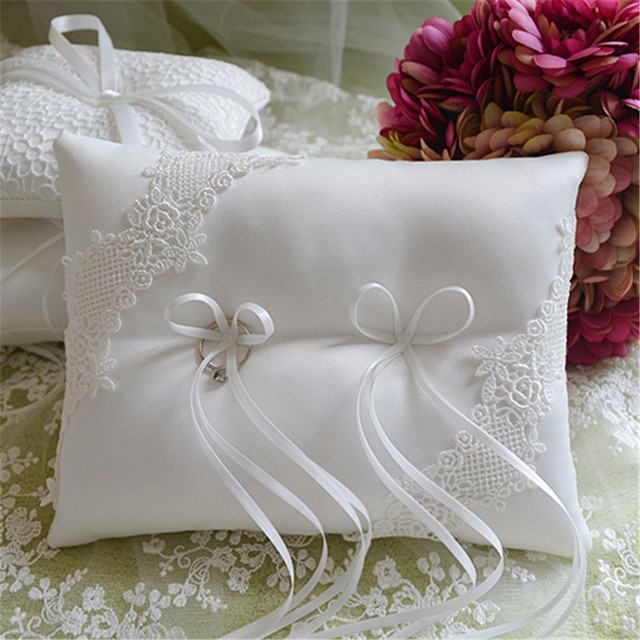 1pcslot Church wedding white bride Ring pillow Ribbon silk bow