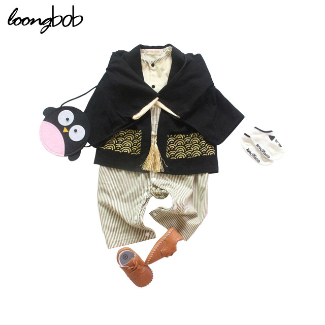 4eb33261a1dc 2 PCS Baby Romper Set Boys Japanese Jumpsuit + Cloak Kimono Style ...