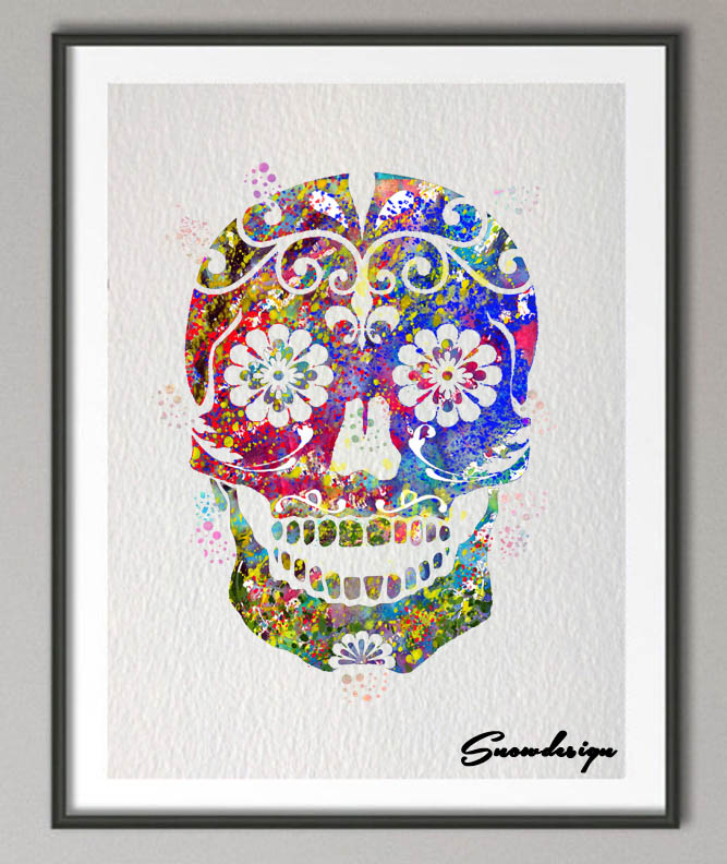 diy original watercolor mexican sugar skull canvas painting wall art