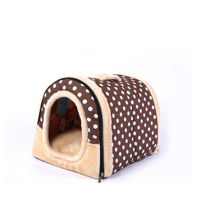 3 Size Portable Pet Dog Cat House Foldable Warm Cozy Pet  House Plush Cloth Cute Kennel For Universal  Pet Bed Dog Sofa