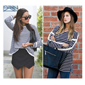 Women Striped Oversized Long Sleeve T Shirt With Contrast Trim